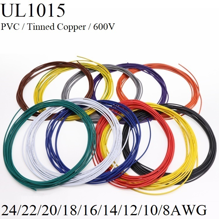 2M/5M Electric Wire <font><b>24</b></font> 22 <font><b>20</b></font> 18 16 14 12 10 8 AWG Lamp Lighting Copper Cable PVC Insulated LED DIY Line 600V Multicolor UL1015 image