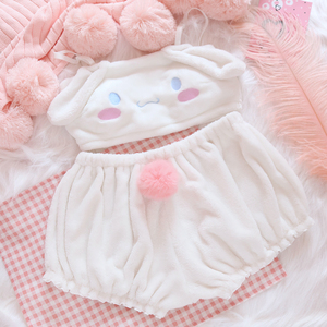 Image 4 - OJBK Pink And White Kwaii Velvet Tube Top And Panties Set For Girls Adorable Underwear Anime Long Ear Doggy Bra and bloomers