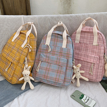 Kawaii Women Backpacks Cute Plaid Schoolbags for Teenage Girls Backpacks New Fashion Women Nylon Backpack Outdoor Travel Bags