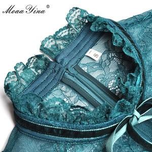 Image 5 - Модельное платье MoaaYina, модное дизайнерское весенне летнее женское платье, кружевные лоскутные бархатные платья с длинным рукавом