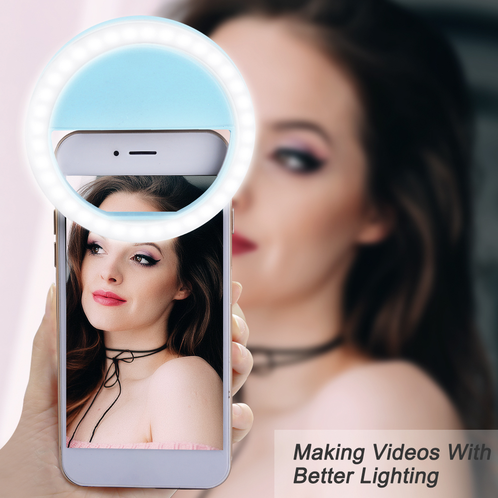 IVYSHION Portable USB Charge Selfie Light Ring 3 Colors Brightness Adjustable Novelty Lighting Photography Ring Lamp For Girls