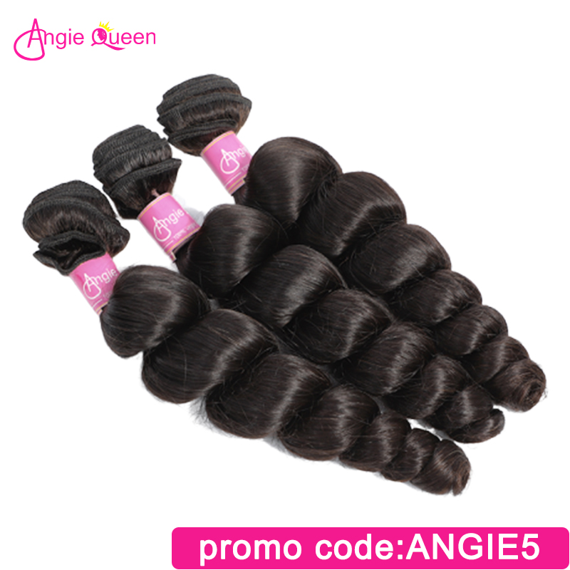 Angie Queen Loose Wave Peruvian Remy Hair Remy Hair Bundles 100% Human Hair Weaves Natural Color Bundles 8'-26' L