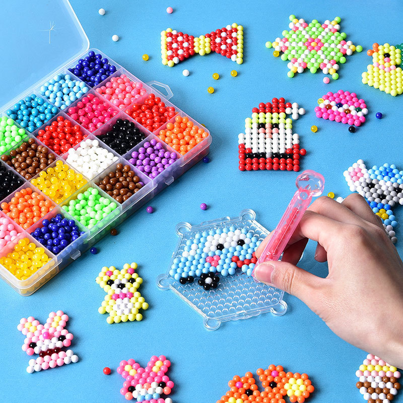 DIY Kids Educational Water Fuse Beads Crafts For Kids Set Tool Magic Pearl Sticky Bead Pegboard Puzzle Toys For 8 10 Children