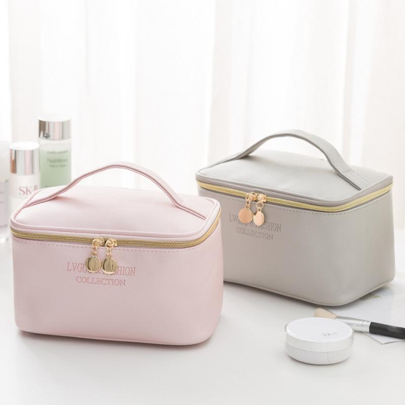 PURDORED 1 Pc  Large Women Cosmetic Bag PU Leather Waterproof  Zipper Make Up Bag Travel Washing Makeup  Organizer Beauty Case
