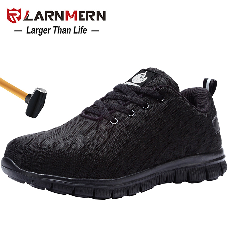 LARNMERN Men's Work Safety Shoes Steel Toe Anti-smashing Reflective Lightweight-750g Breathable Construction Sneaker