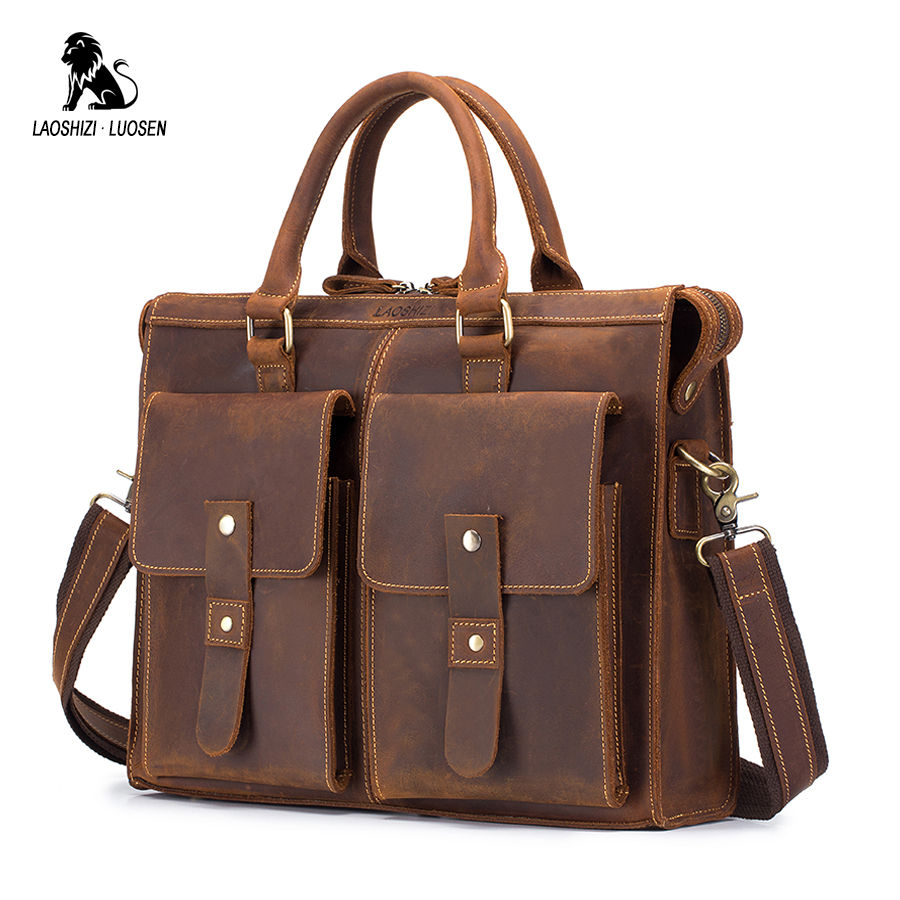 LAOSHIZI LUOSEN Brand Men's Briefcase Handbag Crazy Horse Genuine Leather Messenger Travel Bag Business Men Tote Bags