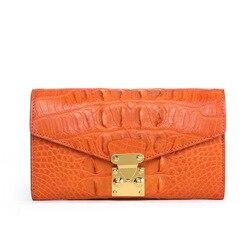 Authentische Echt Alligator Haut frauen Große Bifold Brieftasche Aus Echtem Krokodil Leder Dame Karte Halter Weibliche Orange Kupplung Tasche