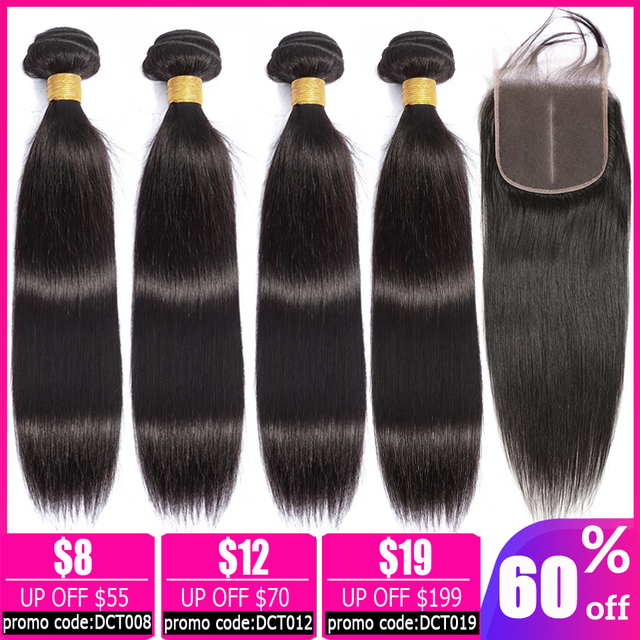$ US $33.09 LEVITA straight hair bundles with closure Brazilian hair weave bundles human hair bundles with closure non-remy hair extension