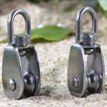 Stainless Steel Wire Rope  Pulley Lifting  Swivel Hook Single   Pulley Block Hanging Wire Towing Wheel