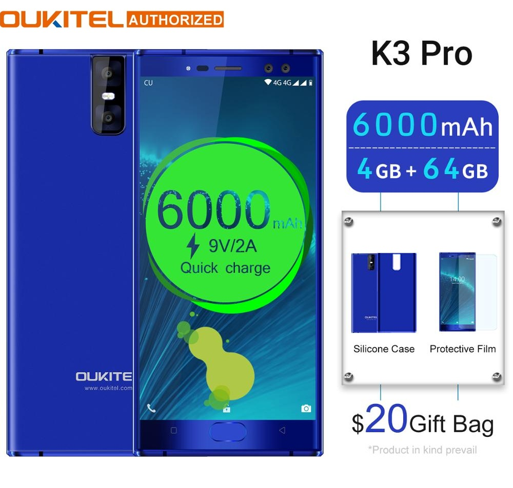 """OUKITEL K3 Pro 4GB+64GB Smartphone Android 9.0 Pie MT6763 Octa Core 5.5"""" FHD 6000mAh Face ID 9V/2A Flash Charge Mobile Phone"""