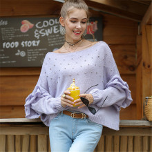 Women Autumn Sweater Casual Purple Pullover Long Sleeve Loose Streetwear Flare Pull Fashion Party Club