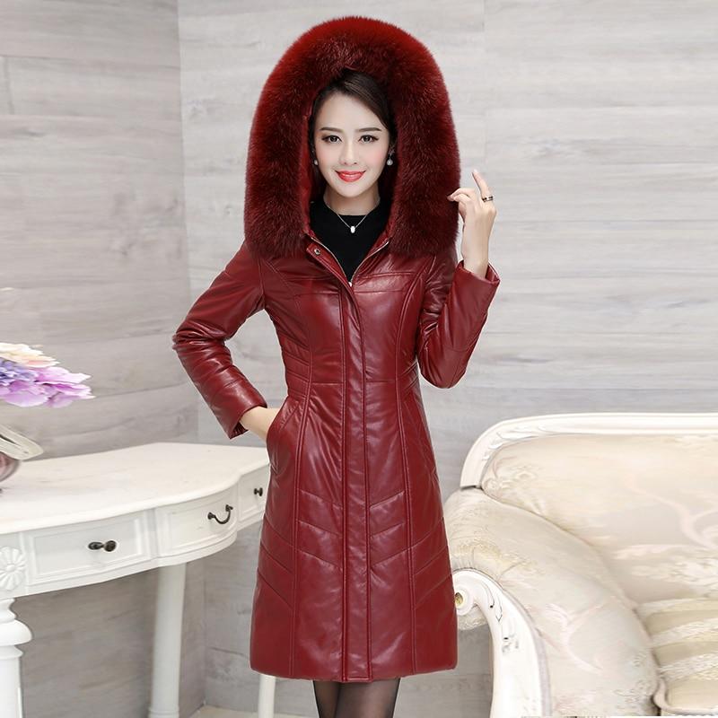 Winter Vrouwen Imitatie Schapenleer Down Jacket Fox Bontkraag Lange Parka Kapmantel Vrouwelijke Plus Size 8XL Warme Lange jassen - 4