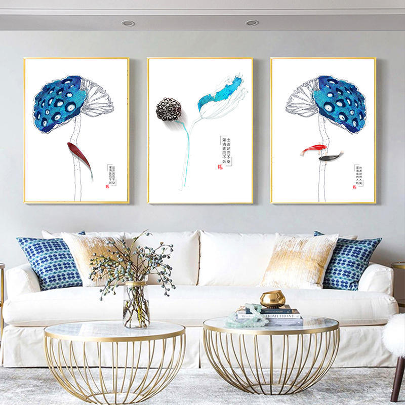 ><font><b>Traditional</b></font> Chinese <font><b>Zen</b></font> Style Poster Blue Lotus Flower Canvas Art Paintings <font><b>Minimalist</b></font> Print Pictures Modern Living Room Decor