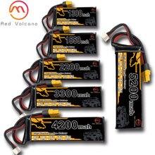 Volcano vermelho bateria lipo 3s 11.1v 1300mah 1500mah 2200mah 5200mah 6200mah 25c 35c 60c bateria xt60 t plug