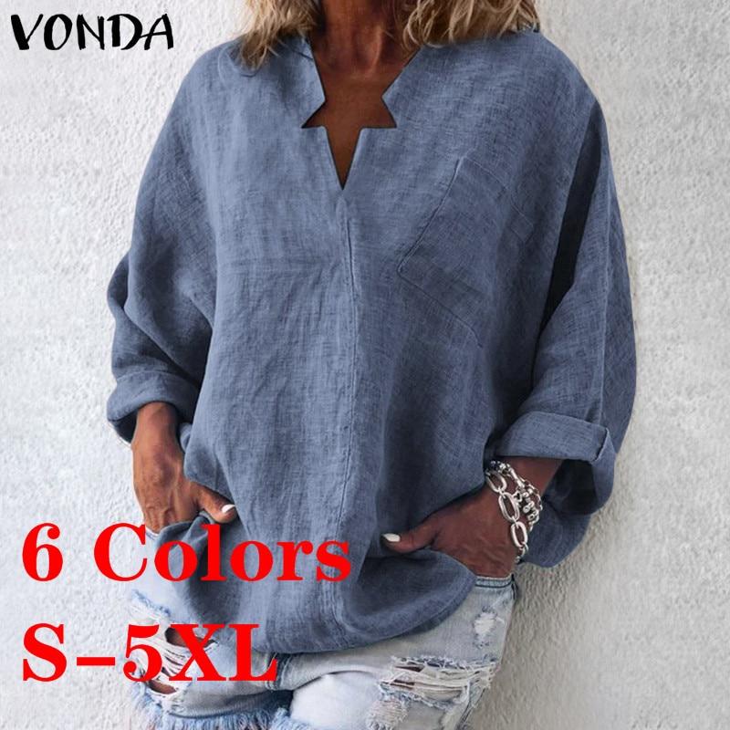 VONDA 6 Colors Vintage Blouse Women Casual Shirt 2019 Spring V-Neck Long Sleeve Tops OL Blusas Beach Women's Tunic Plus Size