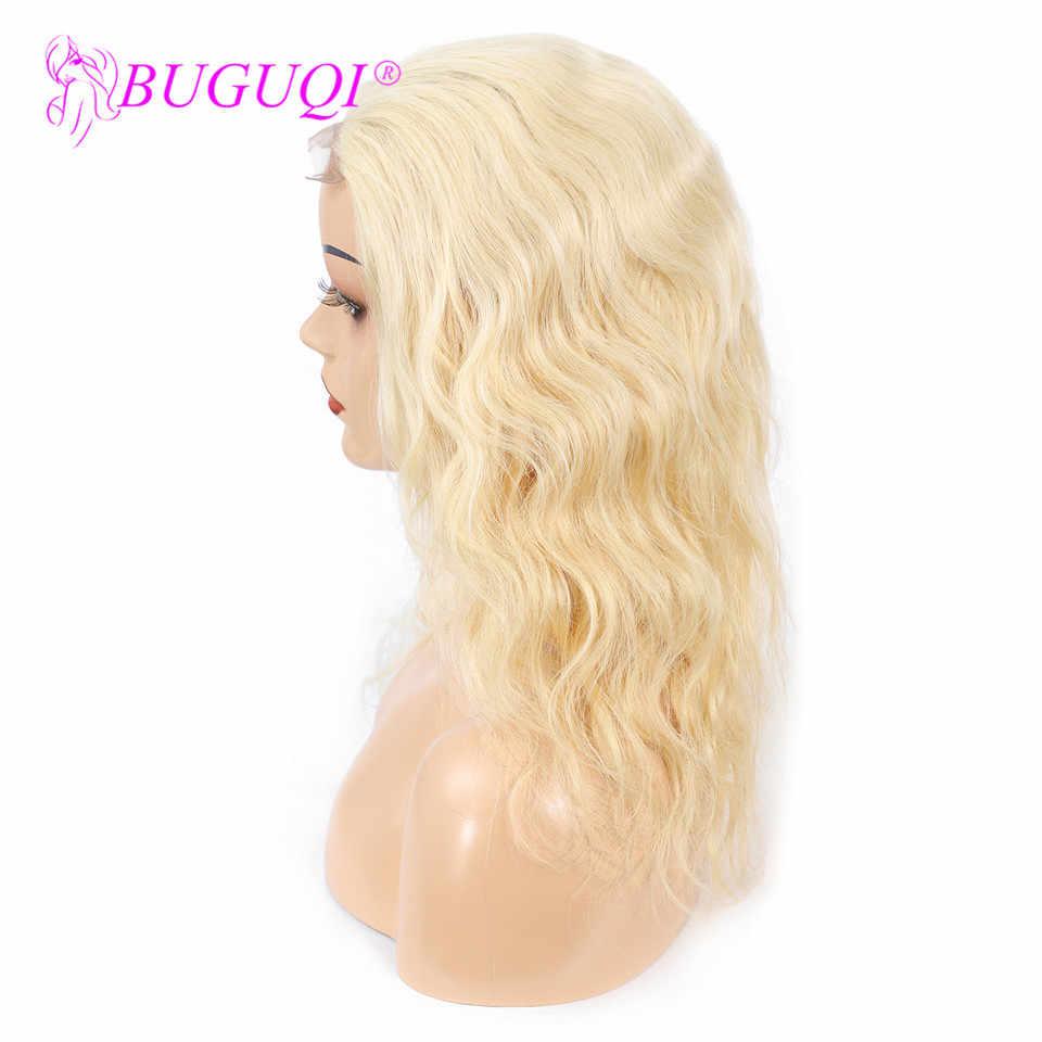 BUGUQI 613 blond koronkowa peruka na przód ciało fala ludzki włos peruka blond brazylijski Remy wstępnie oskubane 4x4 koronki FrontalWigs