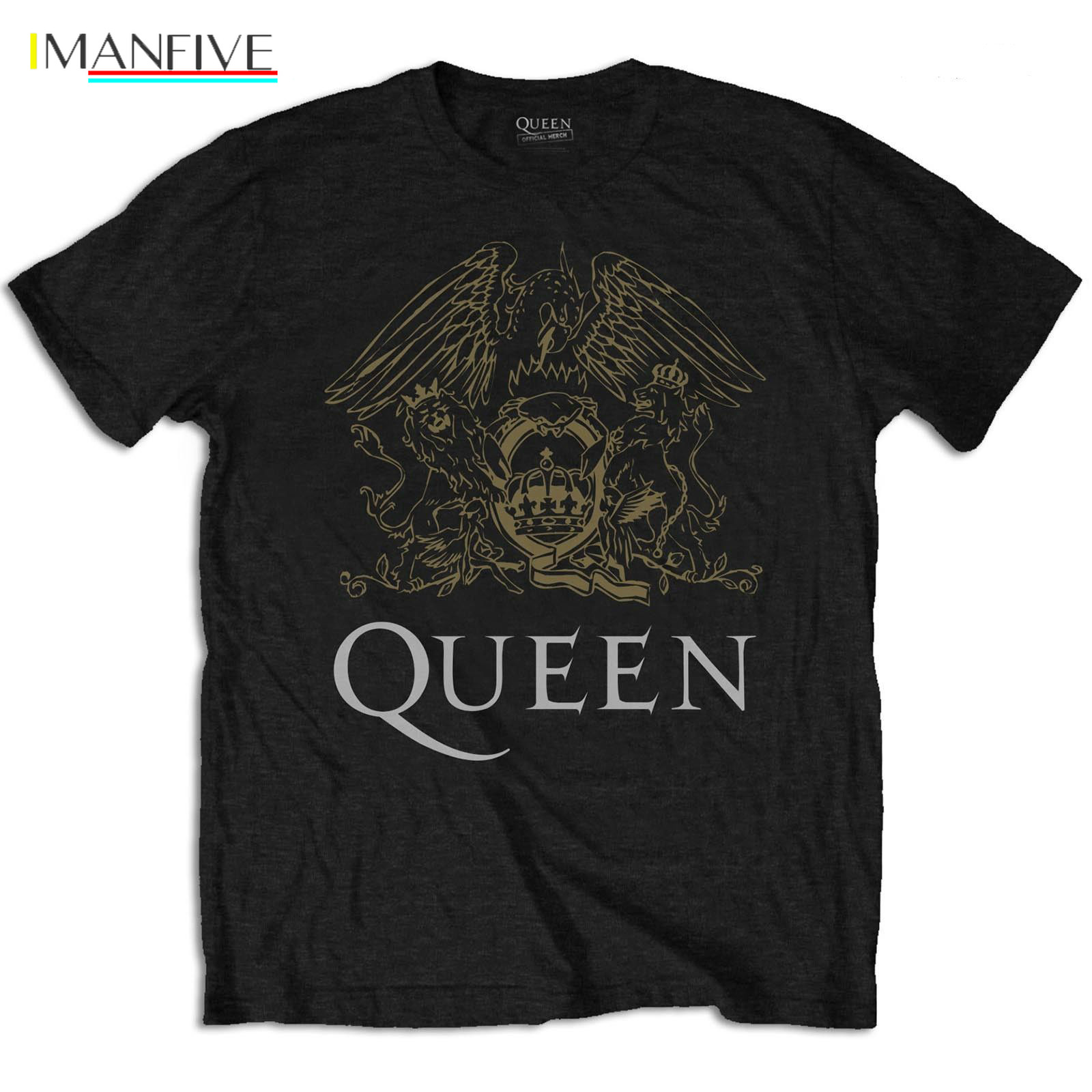 Official T Shirt QUEEN Bohemian Rhapsody Black CREST Classic All Sizes T-Shirts 2019 Brand Clothes Slim Fit Printing Basic Tops