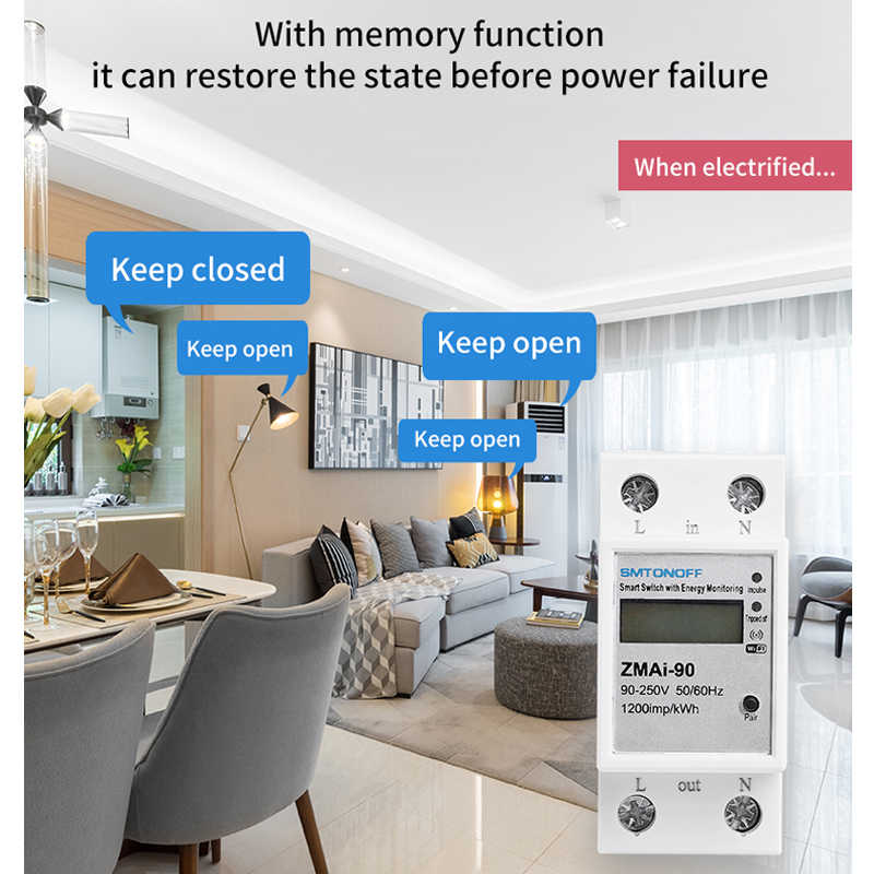 Consommation d'énergie intelligente de WIFI de rail Din monophasé d'app de vie/tuya wattmètre 220 V, c.a. 50Hz/60hz de 110V