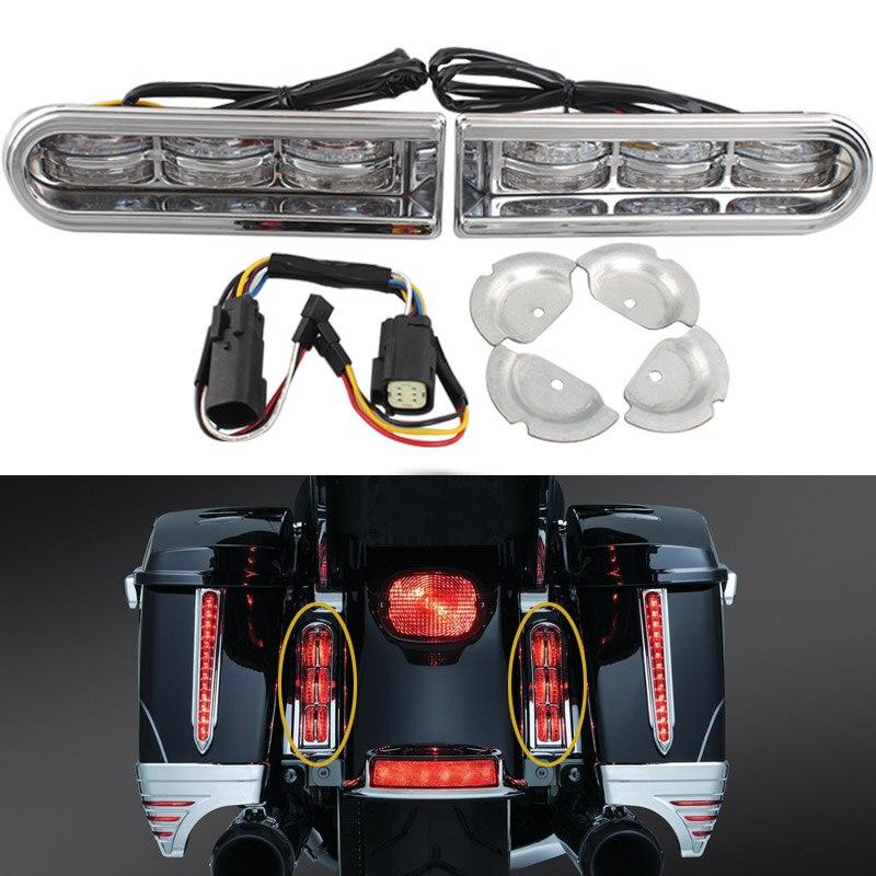 Motorcycle LED Saddlebag Tail Light Insert Auxiliary Run Brake Turn Lamp Filler For Harley Electra Glide Road King Ultra 14-17