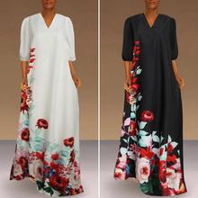 Women Bohemian Floral Print Sundress Celmia 2020 Summer Maxi Dress Kaftan Casual Lantern Sleeve V-neck Long Vestidos Party Robe