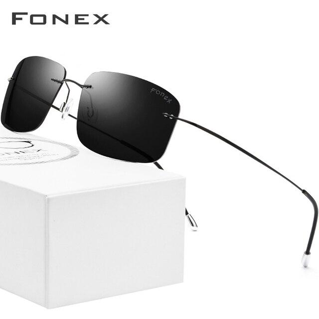 FONEX de aleación de titanio sin montura gafas de sol polarizadas hombres ultraligero sin tornillos sin marco cuadrado lentes de sol para dama 20007 1