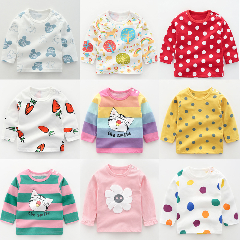2020 New Baby Children's Clothing Cotton Long-sleeved T-shirt Korean Version Cute Tops Tee Underwear Soft Casual Bottoming Shirt
