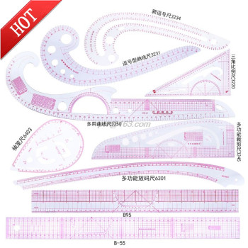 9pcs Sewing French Curve Ruler Measure Dressmaking Tailor Drawing Template Craft Tool Set