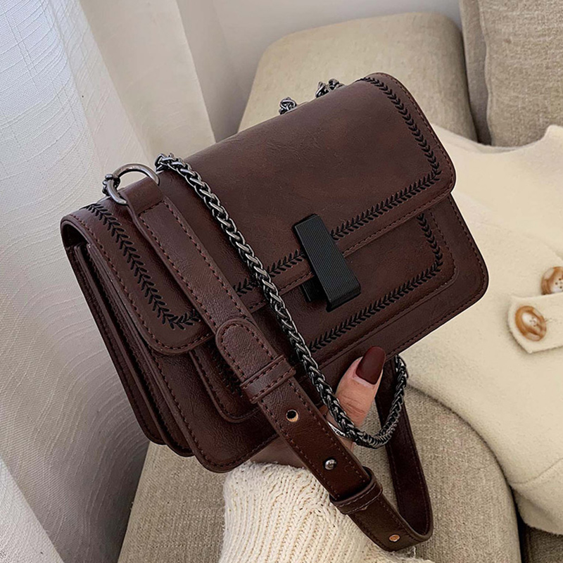 Vintage Leather Mini Crossbody Bags For Women 2020 Chain Design Quality Shoulder Messenger Bags Female Travel Handbags