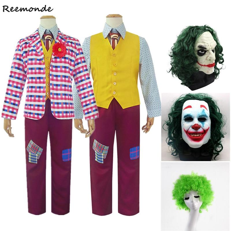 Movie Joker Cosplay Costume Joker Coat Joaquin Phoenix Arthur Fleck Joker Jacket Shirt Vest Pants Suit Uniform Wig Halloween Men