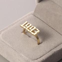 Moda złoty spersonalizowany pierścień modny rok stal nierdzewna na zamówienie pierścień wykwintna biżuteria akcesoria dla kobiet