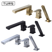 Bathroom Shower Faucet Bath Shower Set Waterfall Bathtub Sink Faucet Water Mixer Sink Taps Brass Chrome & Black & Brushed Gold