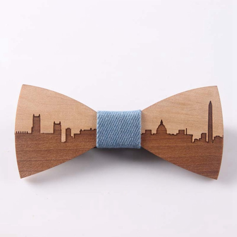 Wedding Bow Tie Wooden Butterfly City Skyline For Men's Suit Shirt Necktie Jewelry Accessory