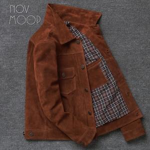 Image 3 - Novmoop veste en peau de vache, manteau dhiver pour homme, couleur marron, jaune brunâtre, style de jeunesse coréen, LT2883