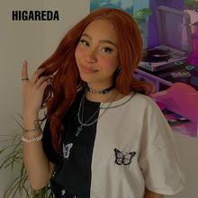 Женская футболка в стиле Харадзюку черная белая повседневная