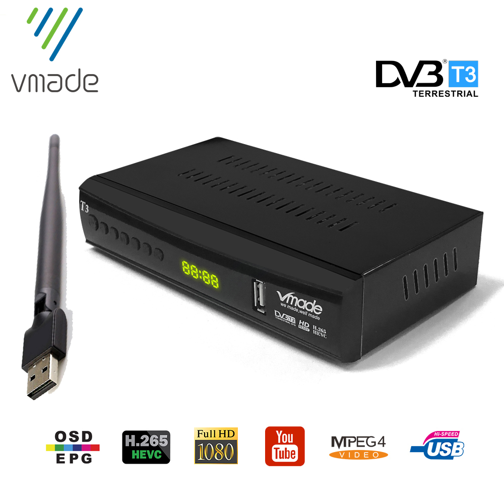DVB T2 terrestrischen Ontvanger DVB T2 TV Tuner HD 1080P receiver DVB T2 set top box H.265 MPEG4 Unterstützung youtube AC-3 Mit USB WIFI