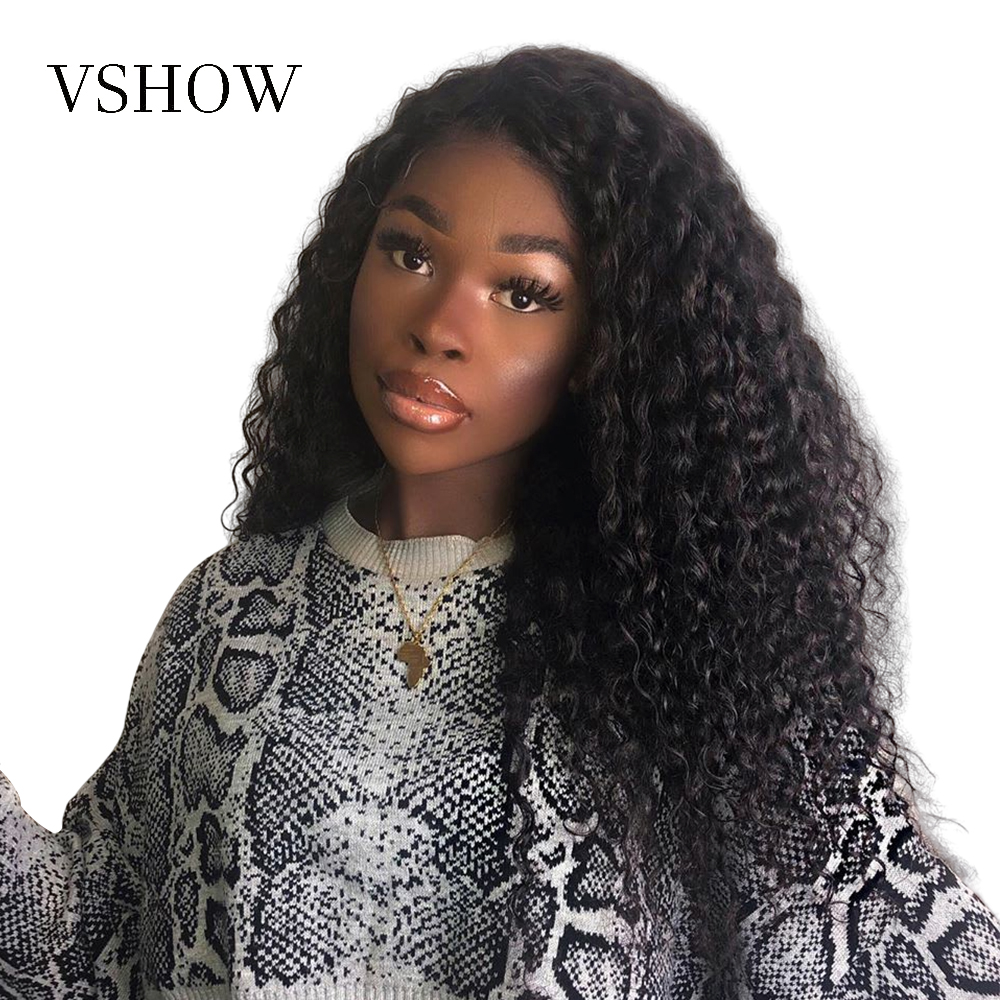 13x4 VSHOW Peruvian Water Wave Lace Front Wig Pre Plucked 150% 180% Remy Water Wave 360 Lace Frontal Human Hair Wig