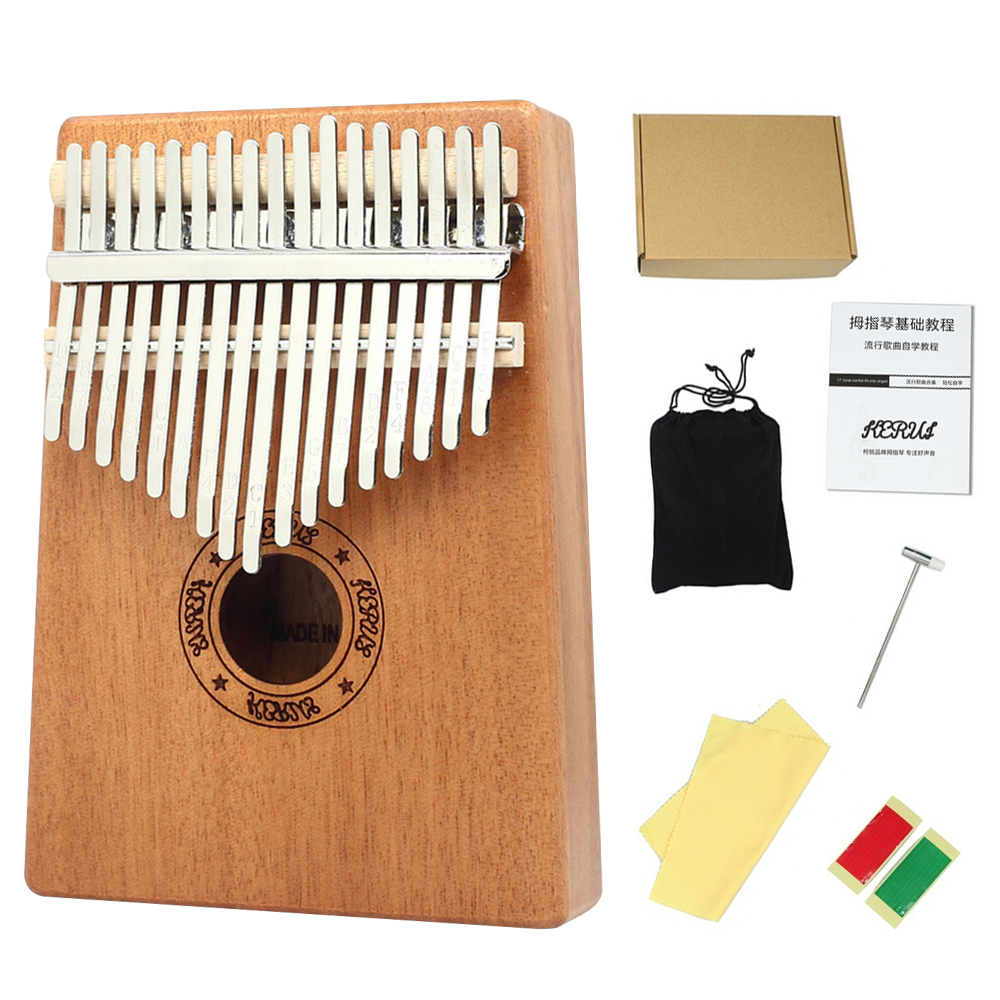5/10/17 Key Thumb Piano High-Quality Wood Mahogany Body Musical Instrument With Learning Book  Hammer For Beginner New