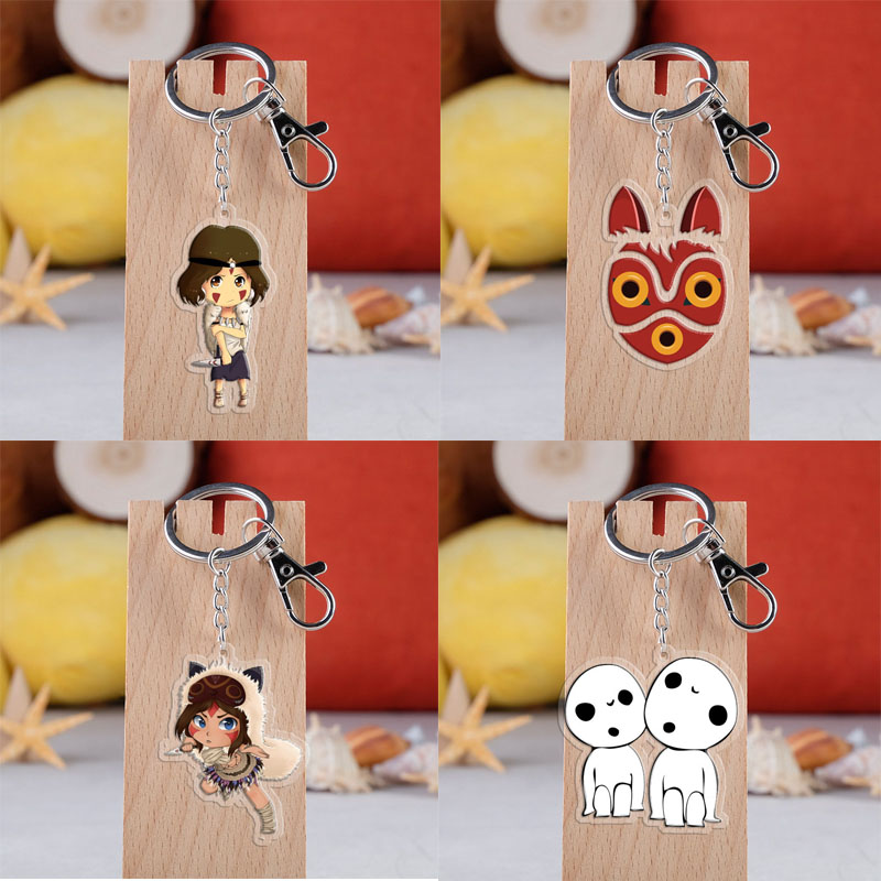 Anime Princess Mononoke Keychain Cartoon Cute Figure Acrylic Pendant Key Rings