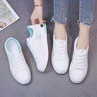 Spor küçük beyaz ayakkabı kadın 2019 yeni stil yaz kanvas ayakkabılar öğrenciler örgü nefes beyaz ayakkabı moda ayakkabı ayakkabı flash