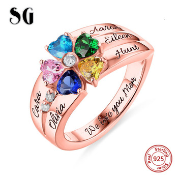 цена на Genuine 100% 925 Sterling Silver Personalized Customization Engraved 5 Heart-Shaped Birthstones Ring Stelring Silver Jewelry