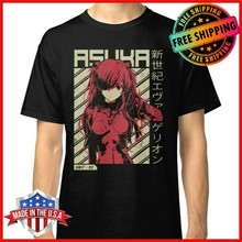 Freeship Evangelion Asuka Poster Anime T-Shirt Black Cotton Men'S Tee S-3Xl Fitness Tee Shirt(China)