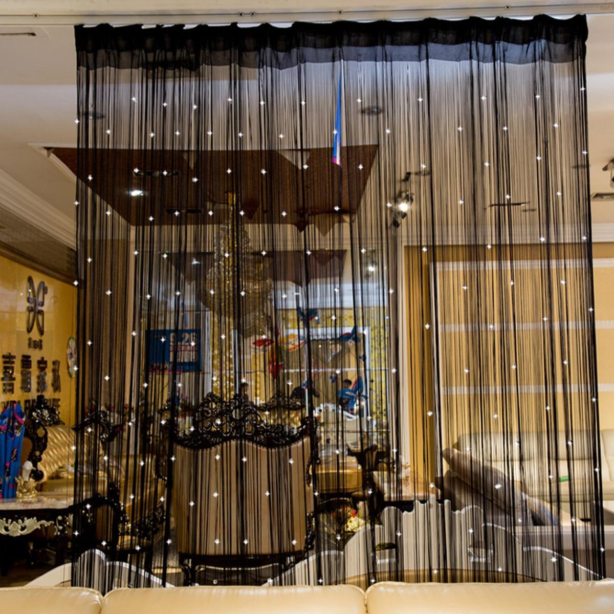 Beaded Curtain String Door Window Room Panel Glitter Crystal Ball Tassel String Line Door Window Curtain Room Divider Decorative