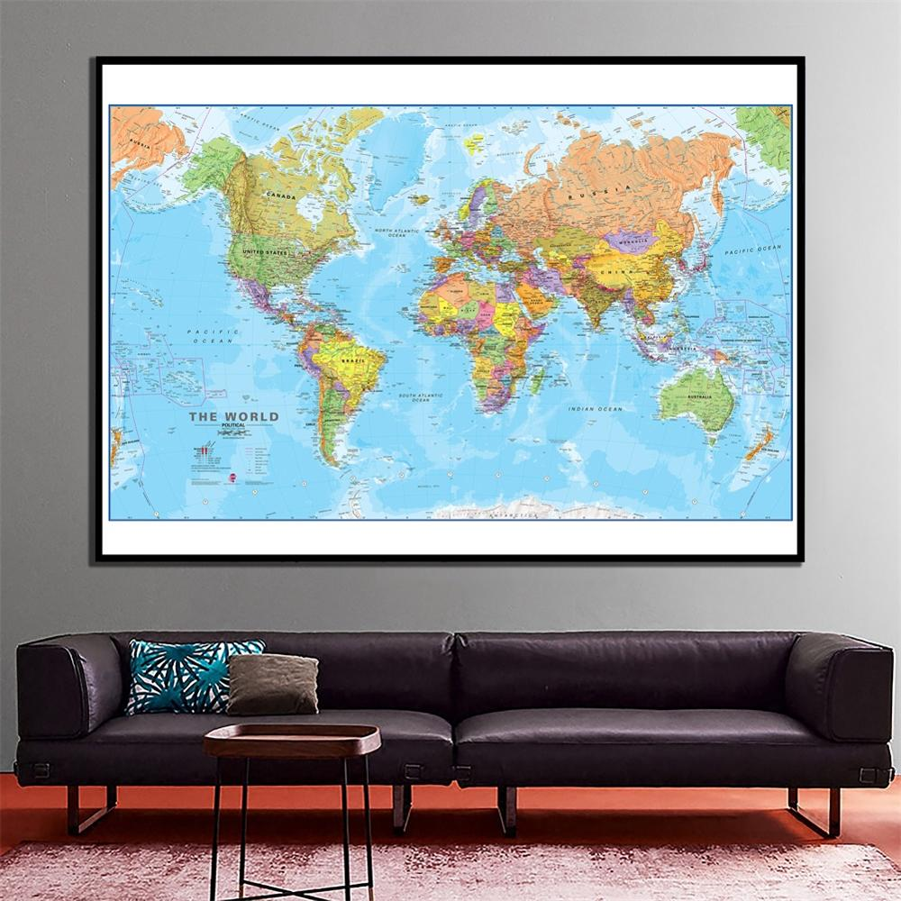 60x90cm The World Political Map Revised 2009 Maps International Office/School Wall Decor Canvas Painting