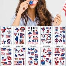 Tatouages en forme de drapeau américain, 10 sortes d'autocollants de maquillage pour le visage et le bras, Art corporel temporaire, usage américain