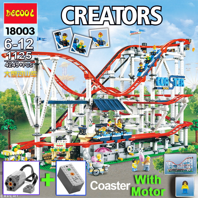 Compatible Legoinglys Creator 10261 Set Model City Roller Coaster Toy Building Blocks Bricks With Motor 9v Battery Birthday Gift