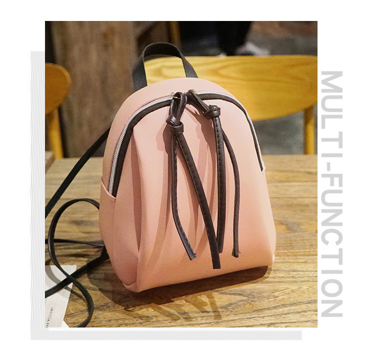 Casual Small Waterproof Backpack Women Solid Color Pu Leather School Bag Simple Mini Zipper Bookbags And Girls Travel Backpacks (4)
