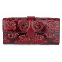 European and American first layer oil wax leather long wallet retro classic fashion embossed female clutch