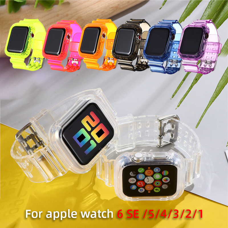 New Transparent Silicone Strap for Apple Watch Series Se 6 5 4 3 2 Band 40mm 44mm for Iwatch Se 5 4 3 Waterproof Strap 38mm 42mm