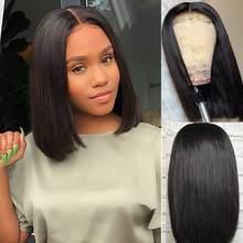 Human Hair Wig 4*4 Lace Closure Wigs Short Bob Wig For Black Women Remy Baby Hair Peruvian Lace Human Hair Closure Wigs