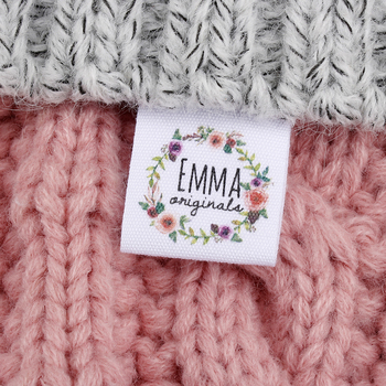 Custom Sewing label, fold, Custom Clothing Labels - Fabric Name Tags, Logo or Text, Cotton Ribbon, Custom Design (MD3034)